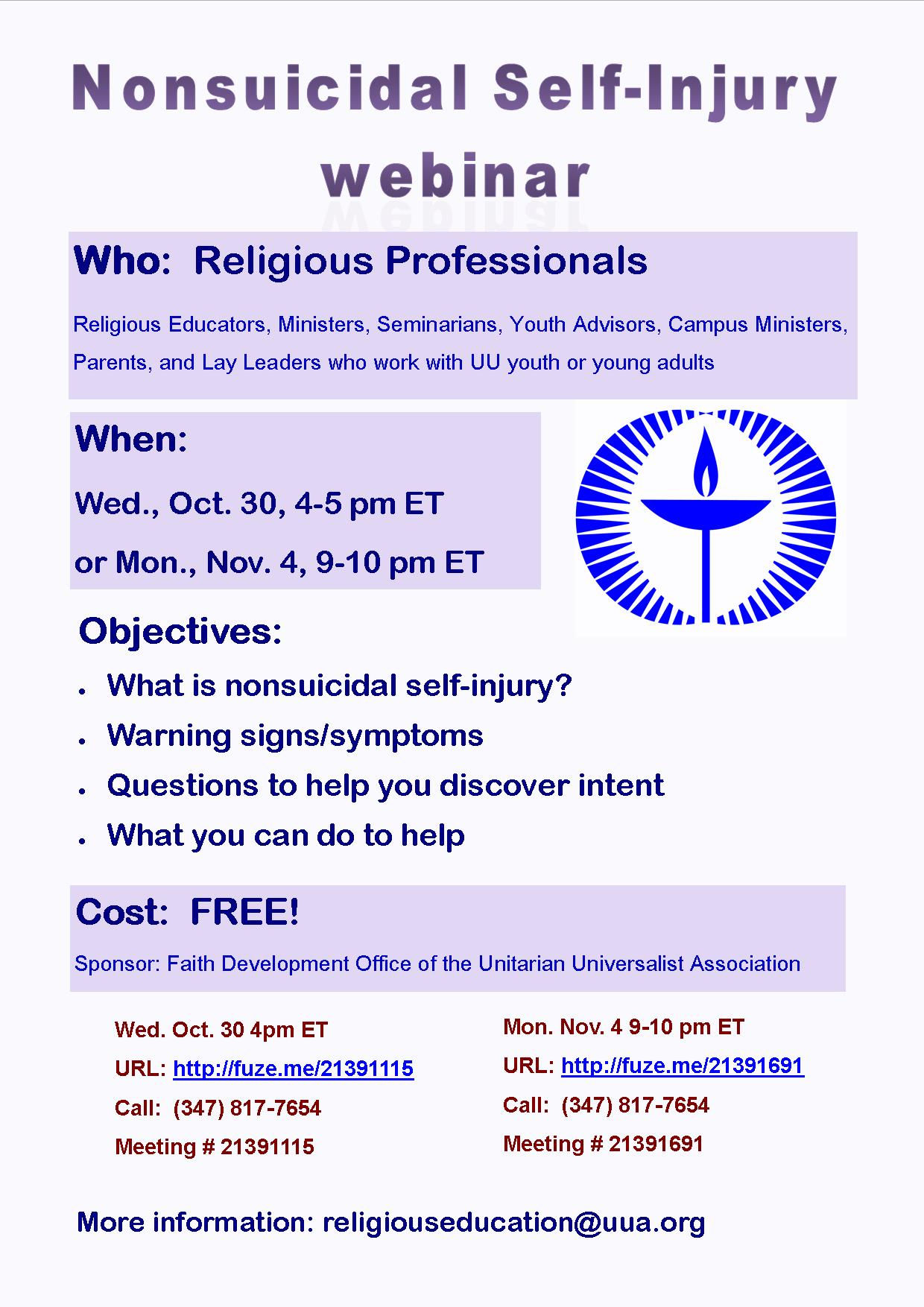 Nonsuicidal Self-Injruy webinar flyer