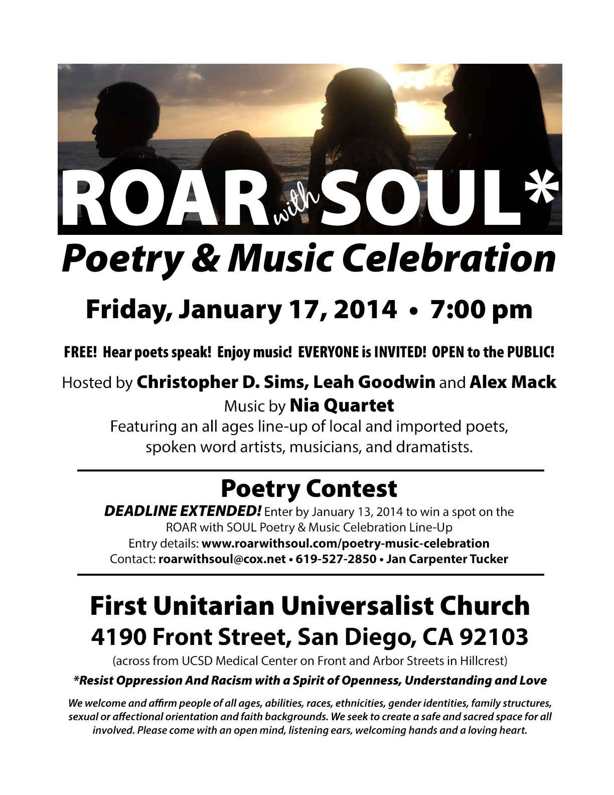 flyer for poet event at DRUUMM West Coast 2014